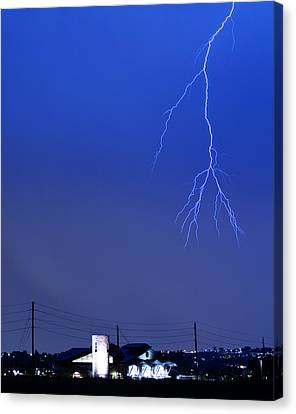 Fire Rescue Station 67  Lightning Thunderstorm 2c Canvas Print