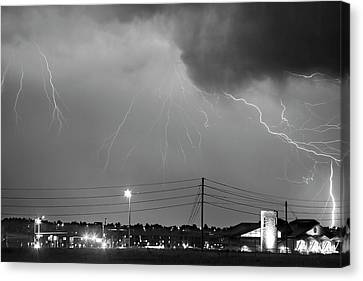 Fire Rescue Station 67  Lightning Thunderstorm Black And White Canvas Print by James BO  Insogna