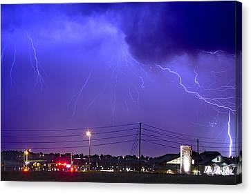 Fire Rescue Station 67  Lightning Thunderstorm Canvas Print by James BO  Insogna