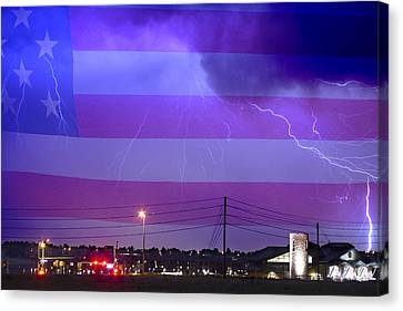 Fire Rescue Station 67  Lightning Thunderstorm With Usa Flag Canvas Print by James BO  Insogna
