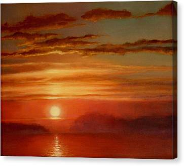 Fire Sunset Canvas Print by Caroline Jones