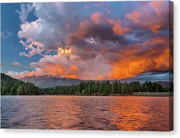 Fire Sunset Over Shasta Canvas Print by Greg Nyquist