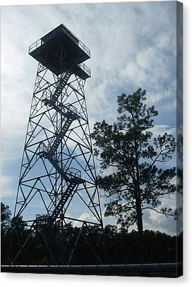 Fire Tower In The Forest Canvas Print by Warren Thompson