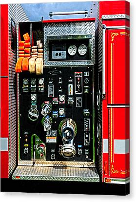 Fire Truck Control Panel Canvas Print by Dave Mills