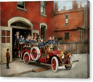 Fire Truck - The Flying Squadron 1911 Canvas Print by Mike Savad