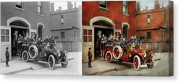 Fire Truck - The Flying Squadron 1911 - Side By Side Canvas Print by Mike Savad