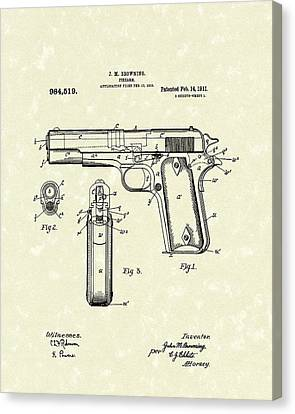 Pistol Canvas Print - Firearm 1911 Patent Art by Prior Art Design
