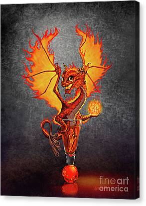Canvas Print featuring the digital art Fireball Dragon by Stanley Morrison
