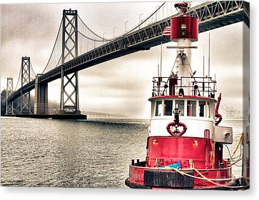 Fireboat And Bay Bridge Hdr Canvas Print