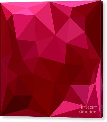 Firebrick Red Abstract Low Polygon Background Canvas Print