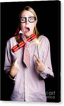 Fired Business Woman In Dynamite Fright Canvas Print