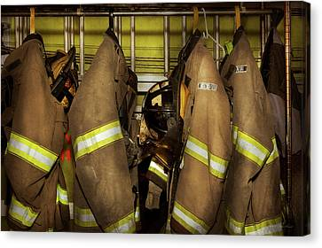 Firefighter - Bunker Gear Canvas Print by Mike Savad