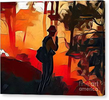 Firefighter On White Draw Fire Canvas Print