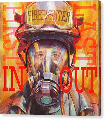 Woman Canvas Print - Firefighter by Steve Henderson
