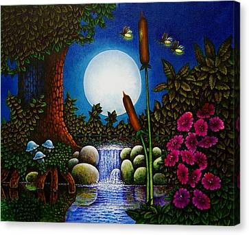 Canvas Print featuring the painting Fireflies by Michael Frank