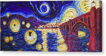 Fireflies Over Wrightsville Bridge Canvas Print