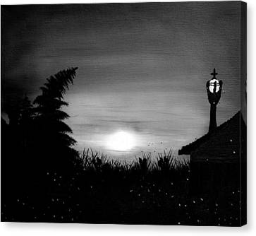 Firefly Frenzy In Black And White Canvas Print by Claude Beaulac