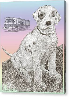 Firehouse Dalmatian Puppy Canvas Print by Jack Pumphrey