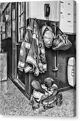 Fireman - Always Ready - Black And White Canvas Print by Paul Ward