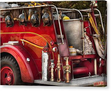 Fireman - Ready For A Fire Canvas Print by Mike Savad