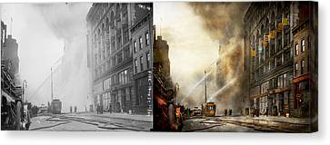 155 Canvas Print - Fireman - Brooklyn Ny - Surpirse 1909 - Side By Side by Mike Savad