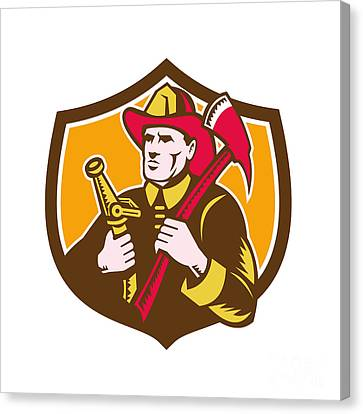 Fireman Firefighter  Axe Hose Crest Woodcut Canvas Print