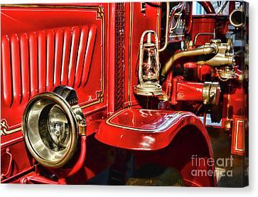 Fireman-vintage Fire Truck Canvas Print by Paul Ward