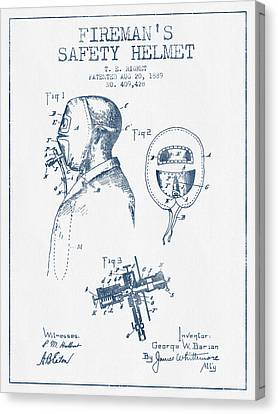 Firemans Safety Helmet Patent From 1889 - Blue Ink Canvas Print by Aged Pixel