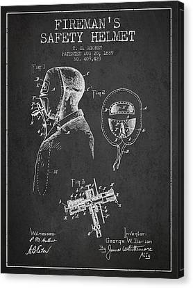 Firemans Safety Helmet Patent From 1889 - Dark Canvas Print by Aged Pixel