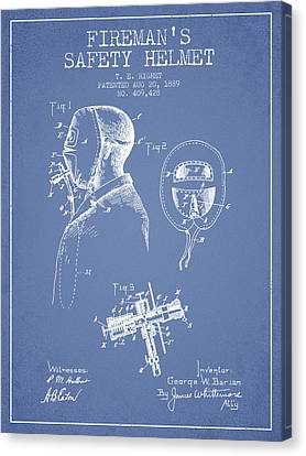 Firemans Safety Helmet Patent From 1889 - Light Blue Canvas Print by Aged Pixel
