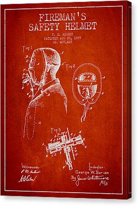Firemans Safety Helmet Patent From 1889 - Red Canvas Print by Aged Pixel