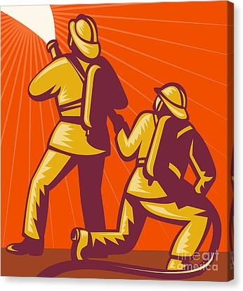 Firemen Aiming A Fire Hose Canvas Print by Aloysius Patrimonio