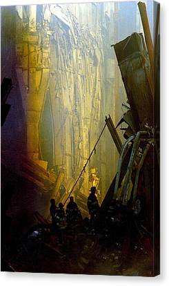Firemen And Rescue Workers Conduct Canvas Print by Everett