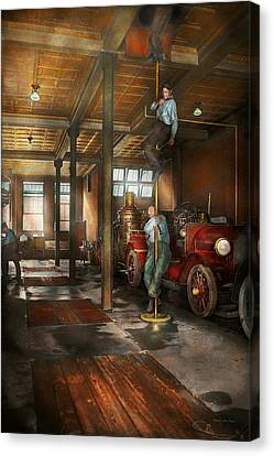 Firemen - Answering The Firebell 1922 Canvas Print by Mike Savad