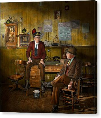 Firemen - Sharing His Wisdom - 1942 Canvas Print by Mike Savad