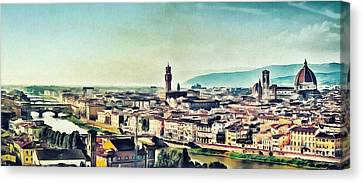 Firenze - Florence Skyline Art Painting Canvas Print by Wall Art Prints