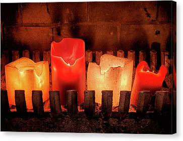 Fireplace Candles Canvas Print by Jim Hughes