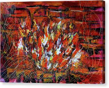 Fireplace Painting Painting Art, Fire Painting Abstract Wall Art Canvas Print