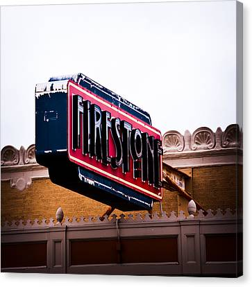 Firestone Horizontal Neon Canvas Print by David Waldo