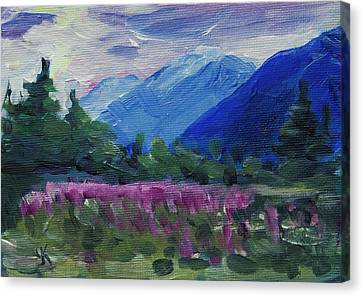Canvas Print featuring the painting Fireweed At Outer Point Alaska by Yulia Kazansky