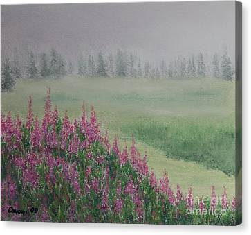 Canvas Print featuring the painting Fireweeds Still In The Mist by Stanza Widen