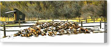 Canvas Print featuring the photograph  Floyd Snyder by Firewood in the Snow at Fort Tejon
