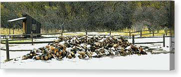 Canvas Print featuring the photograph Firewood In The Snow At Fort Tejon by Floyd Snyder