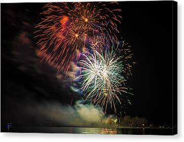 Fireworks Over The Lake Ontario Canvas Print by Larysa Hlebik