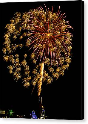 Canvas Print featuring the photograph Fireworks 10 by Bill Barber