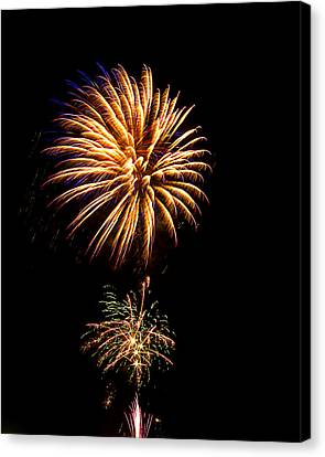 Canvas Print featuring the photograph Fireworks 4 by Bill Barber