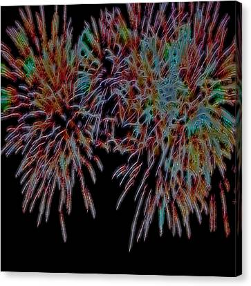 Fireworks Abstract Canvas Print by Cathy Anderson