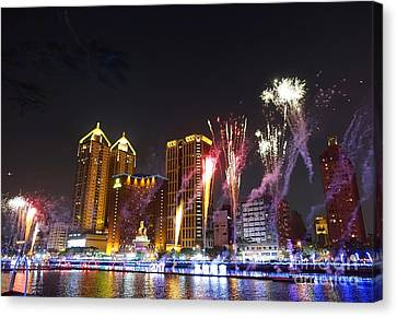 Canvas Print featuring the photograph Fireworks Along The Love River In Taiwan by Yali Shi