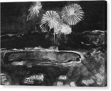 Fireworks At Eagle Nest Lake...0oohh..aahh.. Canvas Print by Laurie Hill Phelps