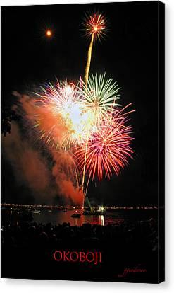Fireworks At Lake Okoboji Canvas Print by Gary Gunderson